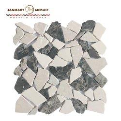 جدار [موسيك تيل] رخاميّة بيضاء ومظلمة قهوة [موسيك غلسّ] حجارة لأنّ مطبخ خارجيّة