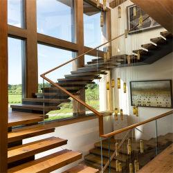 En el interior de alta calidad Glass-Wood flotante escalera Escalera recta
