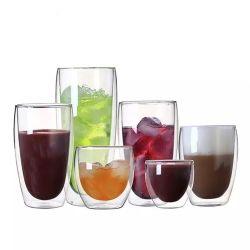 شعار الطباعة مخصص كوب زجاجي مزدوج من بوروسيليكات لشرب القهوة، عصير، مشروبات، شاي، حليب