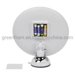 Iluminado LED de 8 pulgadas de tamaño grande marco grande de plástico de pared con ventosa para baño espejo de maquillaje Vanity