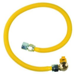 """5/8"""" OD flexible de acero inoxidable de la línea de gas de la manguera flexible conector de la línea de gas con un ángulo de la válvula de bola (revestido de color amarillo-FIP X FIP)"""
