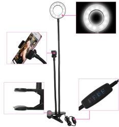 Luz circular Selfie USB com suporte do suporte do telefone celular Clip
