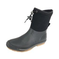 Stivali da pioggia in gomma morbida nera, gomma neoprenica, da donna