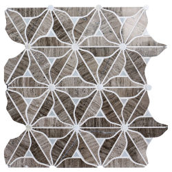 灰色の木製の穀物および花の大理石のモザイク・タイルが付いている花デザインシェル