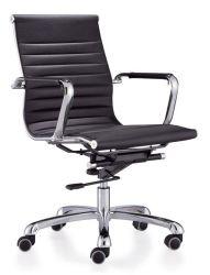 黒いビニールPUの革骨がある高い中間の背部旋回装置のオフィスの椅子