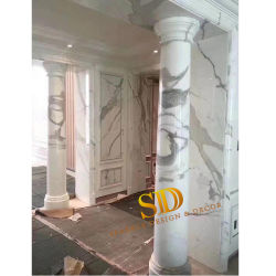 Polidos Statuario italiano todo em mármore branco colunas de mármore sólido para Villa/Palace