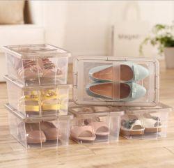 Accueil L'empilage de chaussures en plastique de l'organiseur clair des boîtes de rangement