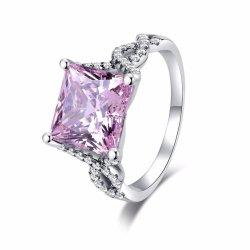 Mode Bijoux argent 925 Bijoux en diamants de Forme Carrée Bague rose clair