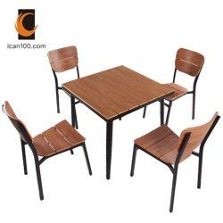 Leve em alumínio metálico no exterior de madeira de Teca Restaurante conjunto de móveis cadeira de mesa (posso-50033)
