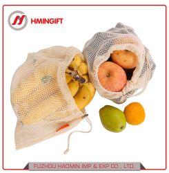 Frutas vegetais naturais orgânicos de malha de algodão sacos de líquido com cordão ajustável