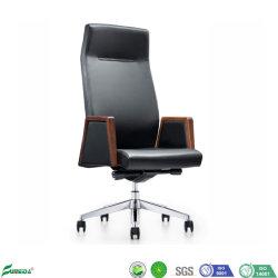 Châssis multifonctionnelle de mobilier de bureau exécutif de l'aluminium en cuir noir pieds chaise de bureau pivotant avec Roulettes silencieuses en nylon (AF1818)