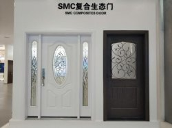 Compuestos de fibra de vidrio de madera veteada SMC con exterior de la puerta de hierro y vidrio