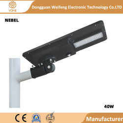 Lega di alluminio 20W impermeabile esterno 40W 60W tutto in un indicatore luminoso di via solare del LED