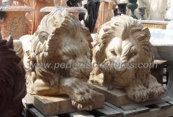 Antike beige Travertin-Stein-Tierstatue-Marmorliegenc$schlafenlöwe-Skulptur für im Freien (SY-D186)