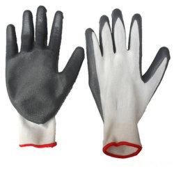 Guanti grigi rivestiti di nylon di protezione del lavoro di funzionamento del nitrile del poliestere industriale professionale