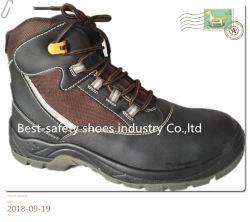 Couro e calçados de segurança superior de tecido de nylon com solado de PU