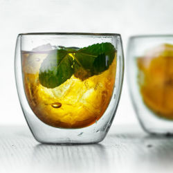 doppel-wandiges 250ml Kaffeetasse-orange Glaswhisky-Glas