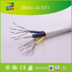 Deux câble RG6 Quad +deux UTP Cat5e câble composite