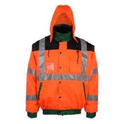 Veste de travail de remplissage d'hiver imperméables avec capuche veste de bombardiers de la sécurité