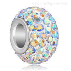 Commerce de gros Fashion charme européen Rondelle Big Hole Perles en cristal