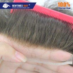 Couleur marron 100 % de cheveux humains hommes Toupee Hairpiece naturelles