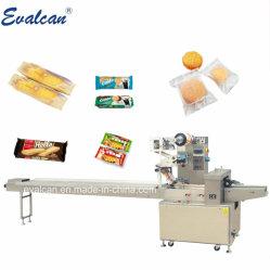 Drei-Servoelektronischer horizontaler Fluss-Kissen-Selbsttyp Imbiss-Nahrungsmittelbeutel-Verpackungs-Maschine für Bäckerei-Brot-Biskuit-Kuchen-Oblate-Schokolade