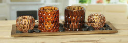 Kerze-Halter-Set, hölzernes Tellersegment, Glaskerze