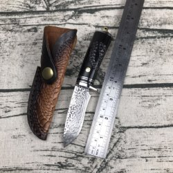 Cuchillo de caza de acero de Damasco con mango de ébano de Cuchilla recta