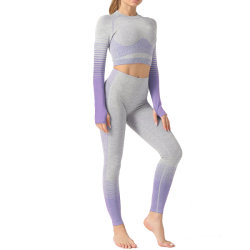 Sin Fisuras a rayas Yoga establece la ropa deportiva para mujeres tejidos de punto de elevación de cadera de manga larga y pantalones ajustados
