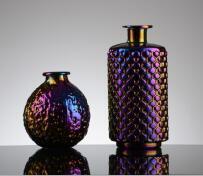 Vase en verre fait main Home Hôtel cadeau de mariage Décoration couleur métallique