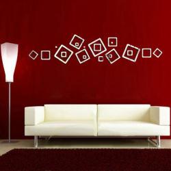 Estrutura cúbicos quadrados Crystal Reflective DIY efeito de espelho 3D autocolantes de parede cor prata art para o quarto