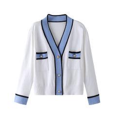 Le nuove donne di alta qualità della camicetta della casella del V-Collo di inverno e di autunno dimagriscono il cappotto del maglione