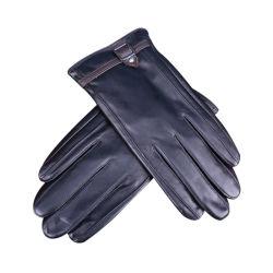 Homens de couro de calor barato Ecrã Táctil luvas térmicas Black Piscina odres de luvas de couro Mitenes