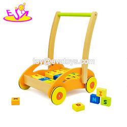 Qualitäts-hölzernes Baby-Wanderer-Zug-Karren-Spielzeug, Kind-hölzerne Zug-Karre, die Spielzeug, hölzernes Baby-Karren-Spielzeug mit Blöcken W16e017 erlernt