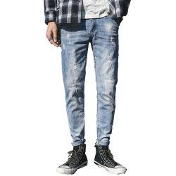 Синий смесь тонкий деним мужчин джинсы 100% хлопок