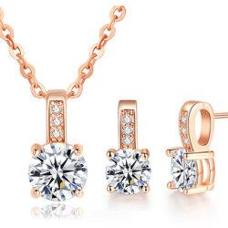 Neues Hochzeitsset Für Schmuck Silber/Rosengold Colour Cubic Zircon Halskette/Ohrring Set
