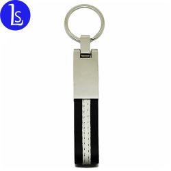 Catena chiave di cuoio nera di Keychain del metallo su ordinazione poco costoso di marchio di Yiwu