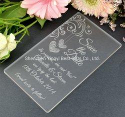 Redacción personalizada de acrílico transparente con corte láser de la Tarjeta de Invitación de boda