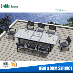 Jardín Muebles de aluminio de madera de teca Polywood ampliar mesa de comedor (T16).