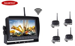 Wireless 7 pulgadas de alta definición de servicio pesado vehículo Monitor Quad Split para carretillas Maquinaria de ingeniería de sistema de visión trasera del coche
