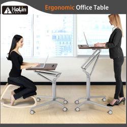 Mobile ergonomique réglable en hauteur par vérin à gaz Bureau permanent de la table et ordinateur de bureau à domicile