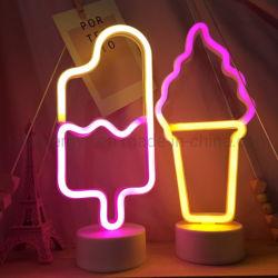 Cartel de neón Luz Neon LED Luz paletas caja de batería para la Heladería Pastelería Mostrar Restaurante Bar decoración vacaciones signo Sexy