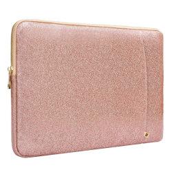 Una fuerte protección Glitter PU resistente al agua de oro rosa de cuero Funda portátil 13 pulg.