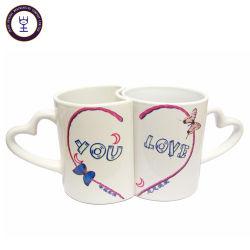 L'amant de la conception de la poignée du coeur en céramique imprimé personnalisé Couple mug