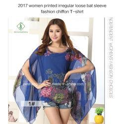 最も新しい女性は不規則で緩いバット袖の方法シフォンのTシャツを印刷した