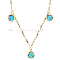 925 Silver 14K 18K colar de ouro com formato de círculo azul Pedra Opal Jóias