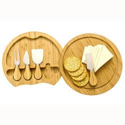 Eco freundliche justierbare Küche-runder Ausschnitt-Vorstand, natürlicher großer Bambuskäse-Vorstand mit Messer-Tischbesteck Setcheese Vorstand und Messer-Set