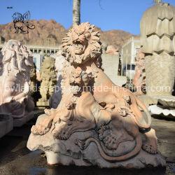 工場価格の庭の彫刻の日没の赤い石造りの大理石のライオンの彫刻Masc-01