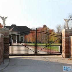 Clôture de sécurité porte en fer forgé de pivotement de l'acier avec des dessins et modèles de la porte principale de fer