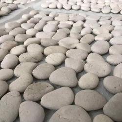 De color blanco de corte plano mosaicos de guijarros de mosaico de piedra